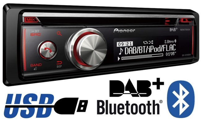Pioneer DEH-X8700DAB ( DEH 8700 DAB ) Radioodtwarzacz CD z tunerem DAB+, USB, Aux-In, Bluetooth, kompatybilny z iPod/iPhone i Android Media